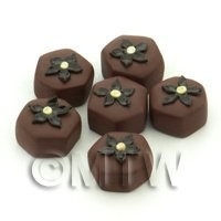 Handmade Hexagonal Milk Chocolate Flower Bead - Jewellery