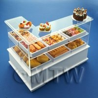 Dolls House Miniature Right Hand 3 Tier Trayed Bakery Counter