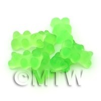 Translucent Light Green Jelly Bear Charm For Jewellery