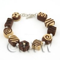 Dolls House Miniature - Handmade Stirling Silver And Chocolate Bracelet