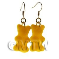 Pair of Solid Dark Yellow Jelly Bear Earrings