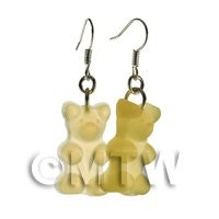 Pair of Translucent Pale Yellow Jelly Bear Earrings