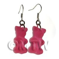 Pair of Translucent Pink Jelly Bear Earrings