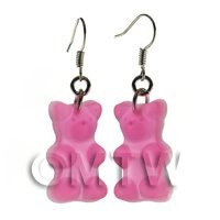 Dolls House Miniature - Pair of Translucent Light Pink Jelly Bear Earrings