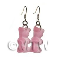 Pair of Translucent Pale Pink Jelly Bear Earrings
