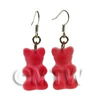 Pair of Translucent Deep Red Jelly Bear Earrings