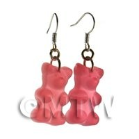 Pair of Translucent Light Red Jelly Bear Earrings