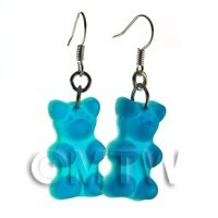 Pair of Translucent Light Blue Jelly Bear Earrings