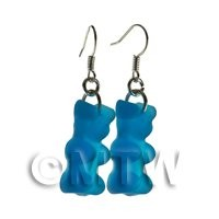 Pair of Translucent Royal Blue Jelly Bear Earrings