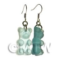 Pair of Translucent Pale Blue Jelly Bear Earrings