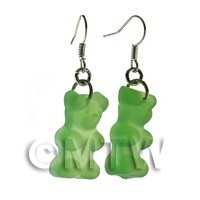 Pair of Translucent Pale Green Jelly Bear Earrings