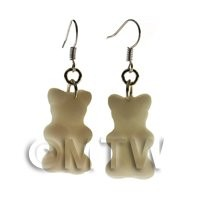 Pair of Solid White Silicon Rubber Jelly Bear Earrings
