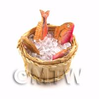 4 Dolls House Miniature Fish With Ice In A Basket (FSHB06)