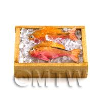 Dolls House Miniature - 2 Dolls House Miniature Fish With Ice In A Basket (FSHB14)