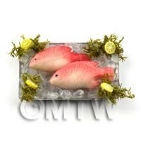 2 Dolls House Miniature Pink Fish With Ice on a Tray (FSHT5)