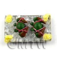 2 Dolls house Miniature Crabs With Ice on a Tray (FSHT14)