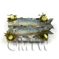 2 Dolls House Miniature Silver and Blue Fish On A Tray