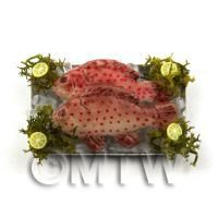 2 Dolls House Miniature Pink Spotted Fish  on a Tray (FSHT19)