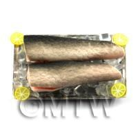 2 Dolls House Miniature Salmon With Ice on a Tray (FSHT23)