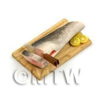 Dolls House Miniature Whole Salmon Being Cut On a Board