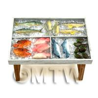 Dolls House Miniature Fully Stocked Fishmonger Counter Style 1