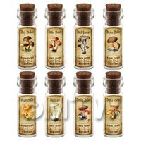 Dolls House Apothecary 8 Fungus / Mushroom Bottle And Colour Labels Set 1