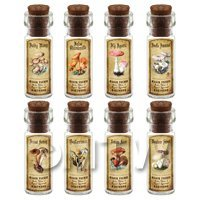Dolls House Apothecary 8 Fungus / Mushroom Bottle And Colour Labels Set 2