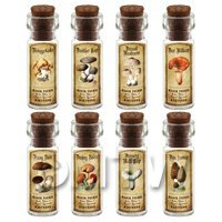Dolls House Apothecary 8 Fungus / Mushroom Bottle And Colour Labels Set 3