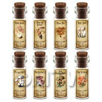 Dolls House Apothecary 8 Fungus / Mushroom Bottle And Colour Labels Set 4