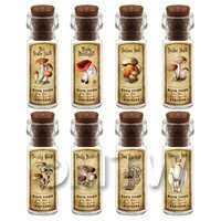 Dolls House Apothecary 8 Fungus / Mushroom Bottle And Colour Labels Set 5
