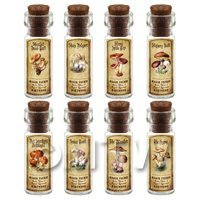Dolls House Apothecary 8 Fungus / Mushroom Bottle And Colour Labels Set 6