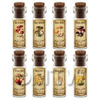 1/12th scale - Dolls House Apothecary 8 Fungus / Mushroom Bottle And Colour Labels Set 7