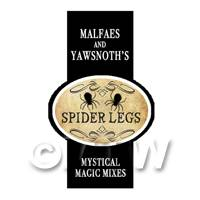 Dolls House Miniature Spider Legs Magic Label Style 2