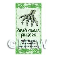 Dolls House Miniature Dead Mans Fingers Magic Label  (S3)
