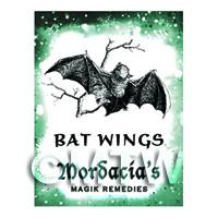 Dolls House Miniature Bat Wings Magic Label (S6)