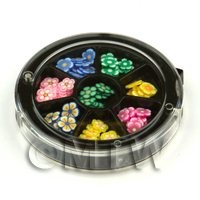 Dolls House Miniature - 80 Assorted Nail Art Flowers Slices In a Wheel