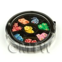 Dolls House Miniature - 80 Assorted Nail Art Flowers Slices In a Wheel Set 2