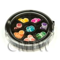 Dolls House Miniature - 80 Assorted Nail Art Rose Slices In a Wheel Set 1