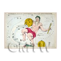 Dolls House Miniature 1820s Star Map Depicting Aquarius