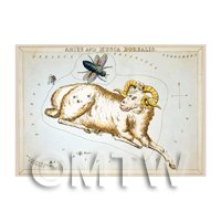 Dolls House Miniature 1820s Star Map Depicting Aries