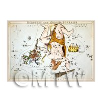 Dolls House Miniature 1820s Star Map Depicting Hercules