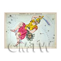 Dolls House Miniature 1820s Star Map Depicting Perseus, Medusae