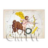 Dolls House Miniature 1820s Star Map Depicting Sagittarius