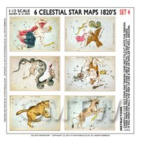 Dolls House Miniature 6 Colourful Star Maps From The 1820s - Set 4