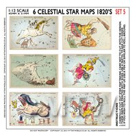 Dolls House Miniature 6 Colourful Star Maps From The 1820s - Set 5