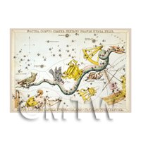 Dolls House Miniature 1820s Star Map Depicting Southern Skys
