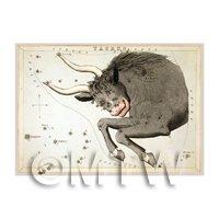 Dolls House Miniature 1820s Star Map Depicting Taurus
