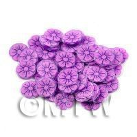 50 Mauve And Purple Flower Cane Slices (11NS70)