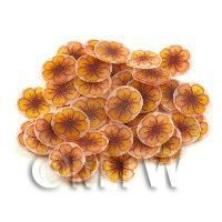 50 Yellow And Orange Flower Cane Slices (11NS71)