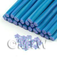 1/12th scale Handmade Purple And Blue Star Glitter Flower Cane - Nail Art (11NC93)